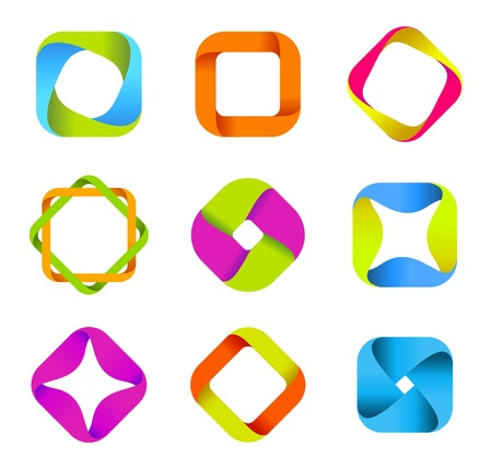 Logo Business Abstract Star Icon. Ribbon style. Vector.