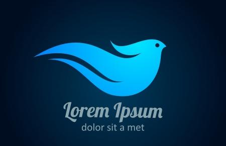ロゴの鳥。抽象的なアイコン。健康、スパ、ビジネス コンセプト  イラスト・ベクター素材