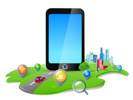 Touch screen phone GPS Navigation concept Vector