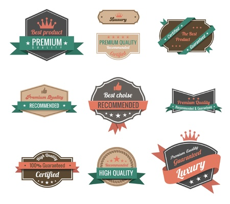 Vintage Labels set. Luxury &amp, Premium Logo Vintage design Çizim