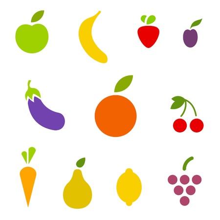 果物や野菜のアイコンを設定します。ベクトル。編集可能です。  イラスト・ベクター素材