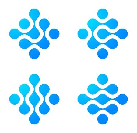 Icono del logotipo de molécula Resumen establecido. Ingeniería conceptual. Informática y la ciencia iconos. Vector.