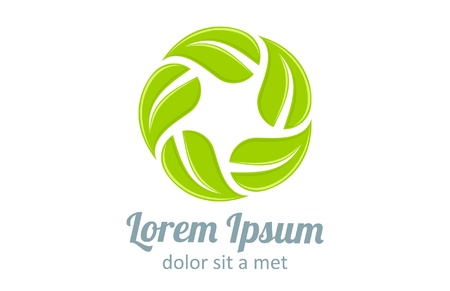 Logo Eco. Infinite shape icon. Green leaves loop. Vector. Editable. Vettoriali
