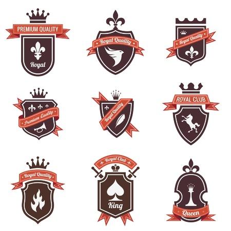 shield emblem: Etichette Vintage impostato. Shield Logo con nastro e corona. Stemma. Design retr�. Di alta qualit�.