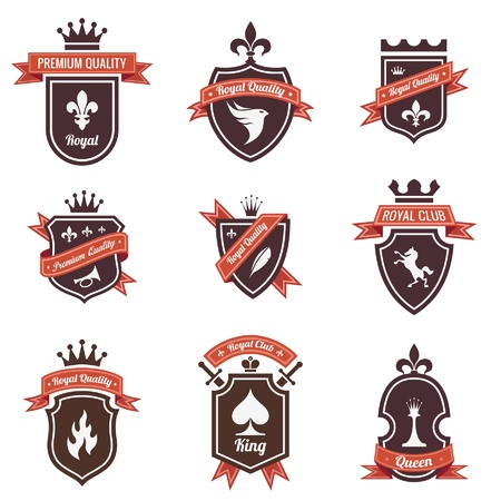 badge shield: Vintage Labels set. Logo Shield with ribbon and crown. Coat of arms. Retro design. High quality.