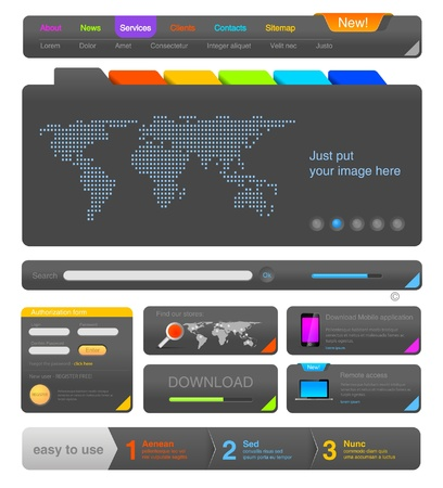 website buttons: Web design UI elements toolkit pack. Interface Colorful Dark
