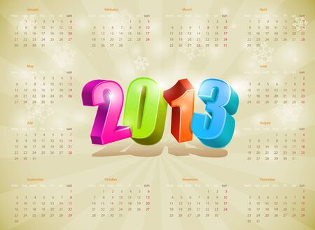 2013 Calendar  Design template  Editable   Vector
