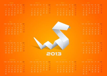 2013 Origami Calendar  Year of snake template  Editable   Illustration