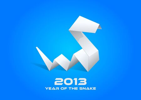snake origami: 2013 Origami Snake  Happy New Year card template  Editable