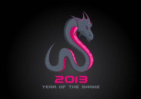 year of snake: 2013 Dark Snake  Happy New Year card template  Editable   Illustration