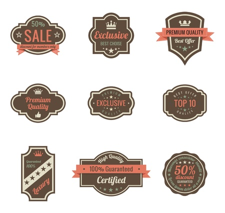 Vintage Labels set  Retro shields and stickers such a logo  Ribbon and crown  Retro design  High quality   Stock Vector - 16134699