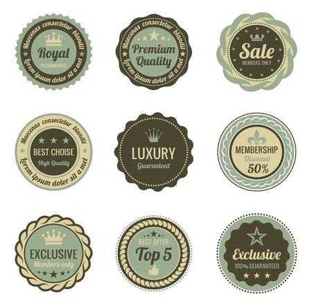Vintage Labels set  Shield with ribbon and crown  Retro design  High quality Stock Vector - 16134709