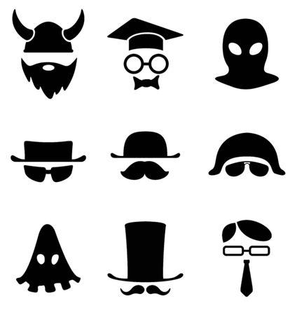 terrorists: Carattere collezione di icone BW Avatar Vettoriali