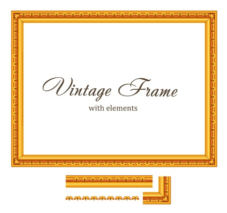 Vintage Gold Frame. High detailed Vector. Consist of parts - so you can make The FRAME any size you want Stock Vector - 16385145