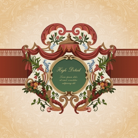 Vintage Card Design. Floral ornament.  Flourish pattern background. Retro Wallpaper. Vector. Copyspace. Stock Vector - 16385152