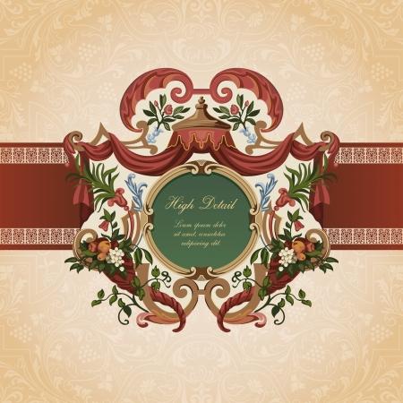 Vintage Card Design. Floral ornament.  Flourish pattern background. Retro Wallpaper. Vector. Copyspace. Stock Vector - 16385152