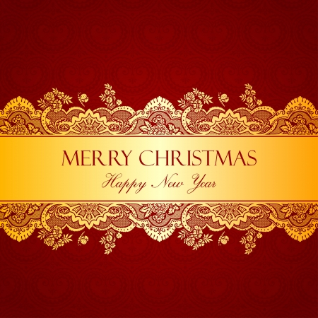 Vintage Gold tape. Floral ornament.  Flourish pattern wallpaper. Retro background for gift. Merry Christmas & Happy New Year. Vector. Copyspace. Stock Vector - 16385154