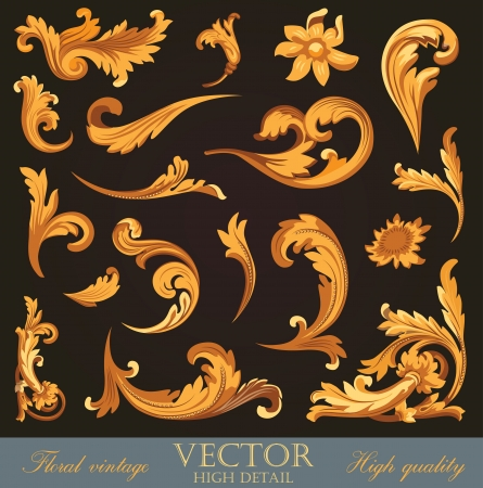 Gold Vintage Elements. High detail Floral ornament.  Flourish pattern. Merry Christmas & Happy New Year. Vector. Vectores