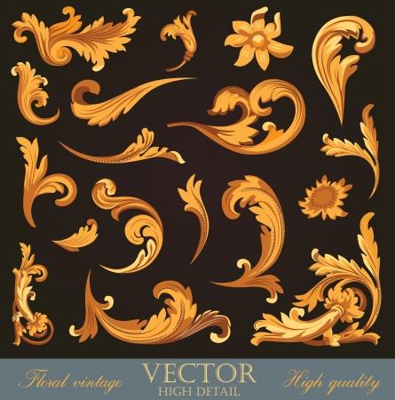 floral vector: Gold elementos vintage. Alto detalle ornamento floral. Flourish patr�n. Feliz Navidad y Feliz A�o Nuevo. Vector. Vectores