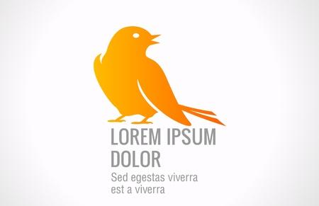 鳥の抽象的なロゴのテンプレート。雀アイコンを座っています。ベクトル。