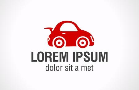 Rode speelgoed auto logo sjabloon. Vector pictogram.