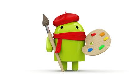 os: Green robot character artist  Concept for application development, mobile phone advertisement  Editorial