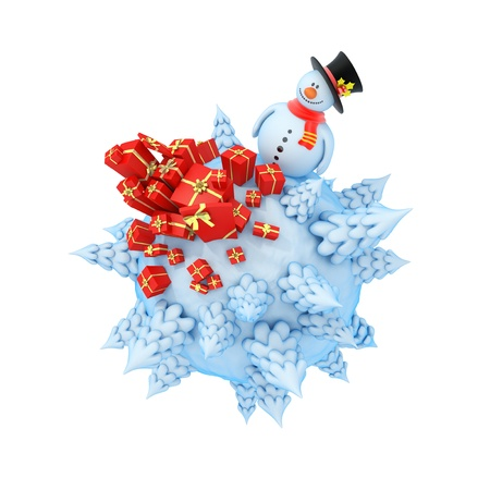 New Year mini planet concept  Snowman with gifts  photo