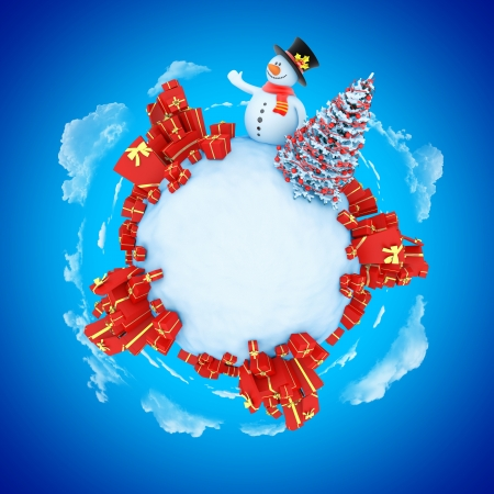 New Year mini planet concept with copy space  Snowman with fir and gifts  photo