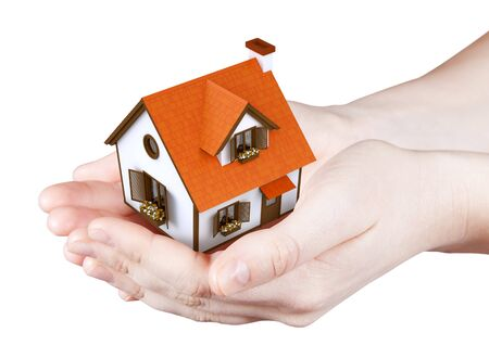 Hands holding offer house  Concept growing business, real estate, ecology, freshness, freedom and lifestyle issues  Handful collection  photo