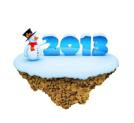 New Year 2013 little snowy levitate island / planet. A piece of land in the air. Stock Photo - 16811034
