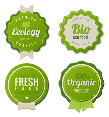 Eco Vintage Labels Bio template set  Ecology Retro design Ilustrace