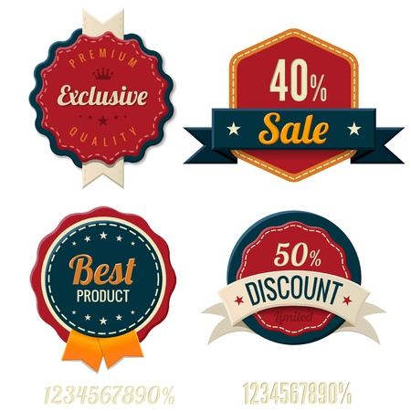 Vintage Labels template set  Sale, discount theme  Retro design Vector