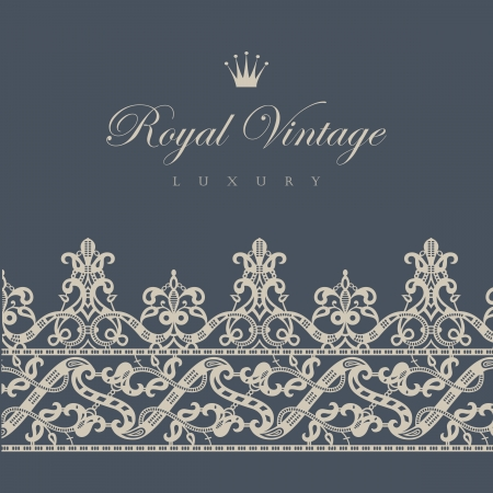 royal wedding: Vintage Floral border tiling element  Vector Retro ornament