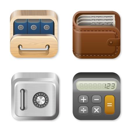Finance Icons set: Tiroir, Porte-monnaie, coffre-fort, Calculatrice. Vecteur. Banque d'images - 17710532