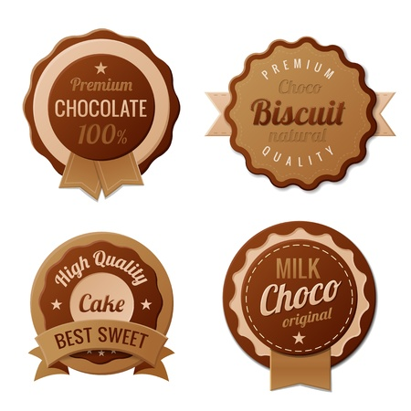 Chocolate Vintage Labels template collection  Retro vector Imagens - 17710526