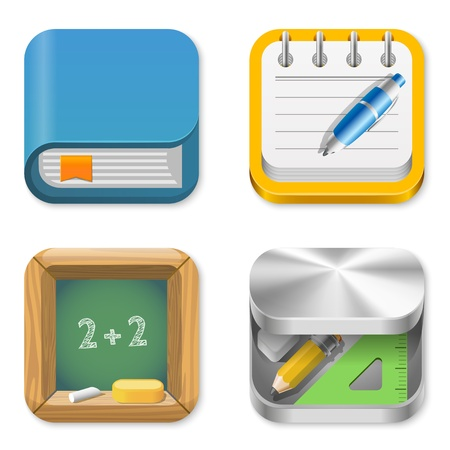 Education Icons set: Book, Notepad, Balckboard, Pencil box Vector