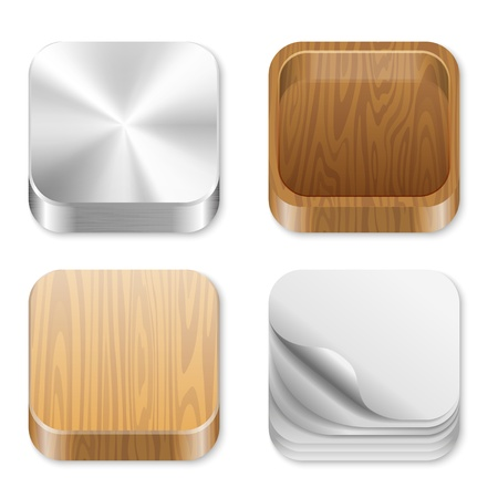Icon trendy templates for any applcation. UI Square icons set. Vector