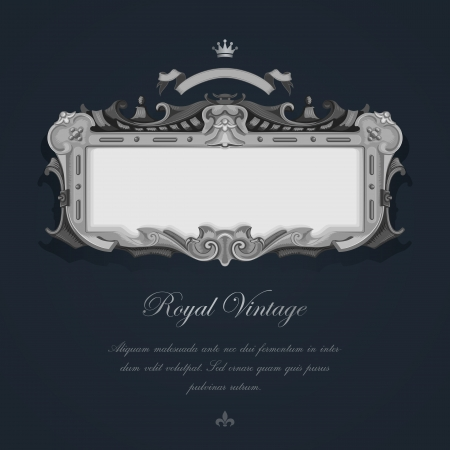 Tarjeta de felicitación del vintage. Plata elegante diseño retro de Lujo Foto de archivo - 17710523