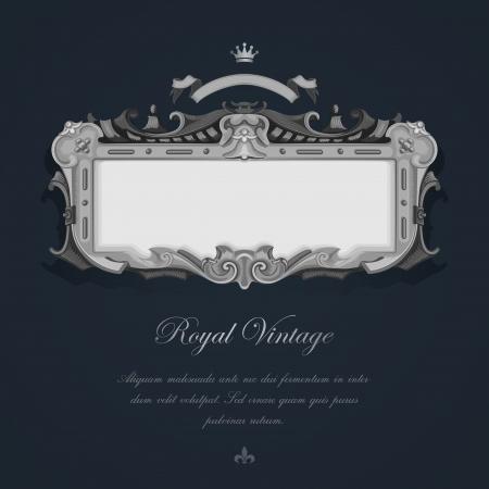 bodas de plata: Tarjeta de felicitación del vintage. Plata elegante diseño retro de Lujo Vectores