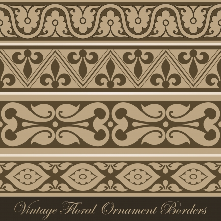 with sets of elements: Vintage border seamless elements collection. Floral ornament Illustration