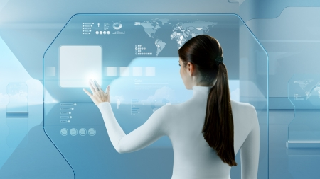 Future technology touchscreen interface Girl touching screen interface in hi-tech interior Business lady pressing virtual button in futuristic office