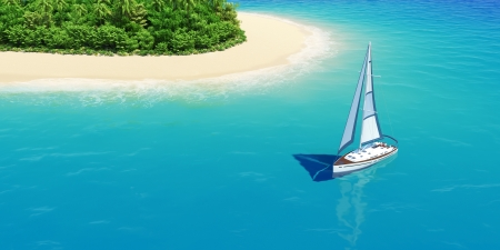 Yacht near tropical sand beach with palms top view  Concept for rest, holidays, resort, spa design or background Stock Photo - 17901202