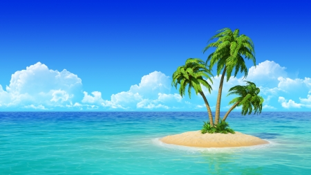 desert island: Desert tropical island with palm tree  Concept for rest, holidays, resort