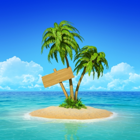 Wooden sign on desert tropical island with palm tree. 