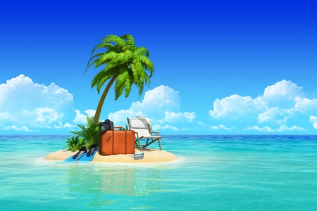 Desert tropical island with palm tree, chaise lounge, suitcase. Concept for rest, holidays, resort, travel. Stock Photo - 18394376