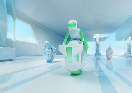 Future motobike riders team in hi-tech interior. Futuristic transport concept serie. photo
