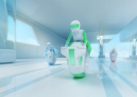 high tech: Future motobike riders team in hi-tech interior. Futuristic transport concept serie. Stock Photo