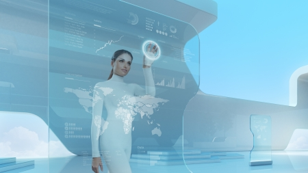 futuristic woman: Future technology touchscreen interface.Girl touching screen interface in hi-tech interior.Business lady pressing virtual button in futuristic office. Stock Photo