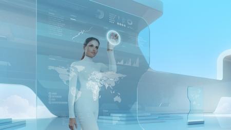 Future technology touchscreen interface.Girl touching screen interface in hi-tech interior.Business lady pressing virtual button in futuristic office. Archivio Fotografico
