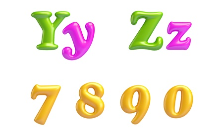 7 8: 3D Font creative  ABC collection  Isolated Alphabet type letters with numbers and symbols  Y, Z, 7, 8, 9, 0 High Quality clean sharp letters